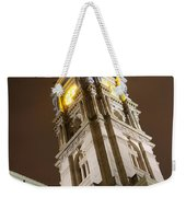 Philadelphia City Hall Clock Tower At Night Weekender Tote Bag by Gary Whitton