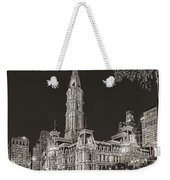 Philadelphia City Hall Mono Weekender Tote Bag