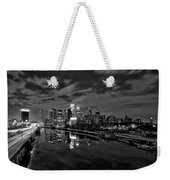 Philadelphia From South Street At Night In Black And White Weekender Tote Bag