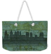 Philadelphia Pennsylvania Skyline Art On Distressed Wood Boards Weekender Tote Bag