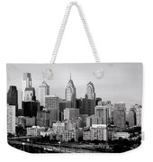 Philadelphia Skyline Black And White Bw Pano Weekender Tote Bag