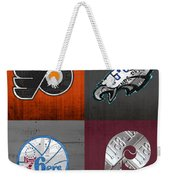 Philadelphia Sports Fan Recycled Vintage Pennsylvania License Plate Art Flyers Eagles 76ers Phillies Weekender Tote Bag
