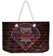 Phillies Baseball Graffiti On Brick  Weekender Tote Bag by Movie Poster Prints