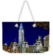 Philly City Hall At Night Weekender Tote Bag