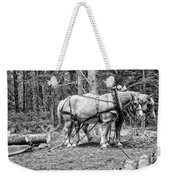 Photograph Of Horses Pulling Logs In Maine Forest Weekender Tote Bag