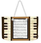 piano keys sheet music to Keep Of The Promise by Kristie Hubler Weekender Tote Bag