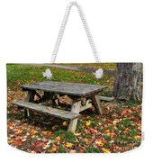 Picnic Table In Autumn Weekender Tote Bag