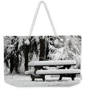 Picnic Table In The Snow Weekender Tote Bag
