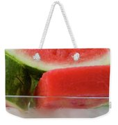 Pieces Of Watermelon In A Bowl Of Ice Cubes Weekender Tote Bag