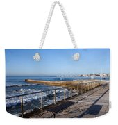 Pier And Promenade By The Atlantic Ocean In Cascais Weekender Tote Bag