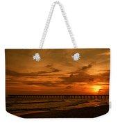 Pier At Sunset Weekender Tote Bag by Sandy Keeton