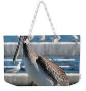 Pier Brown Pelican Weekender Tote Bag