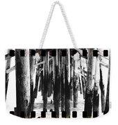 Pier Pilings Black And White Weekender Tote Bag