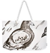 Pigeon II Sumi-e Style Weekender Tote Bag
