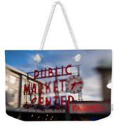Pike Place Public Market Neon Sign Weekender Tote Bag