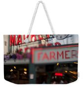 Pike Place Publice Market Neon Sign And Limo Weekender Tote Bag