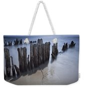 Pilings On The Beach Along A Lake Michigan Shore Weekender Tote Bag