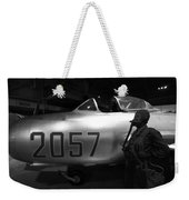 Pilot And His Airplane In The Hangar Weekender Tote Bag