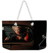 Pin Up Girl In A Classic Rat Rod Car Weekender Tote Bag