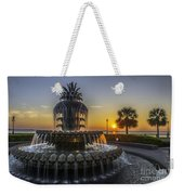 Pinapple Fountain Charleston Sc Sunrise Weekender Tote Bag