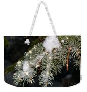 Pine Branch With Ice And Stars Weekender Tote Bag
