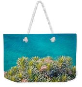 Pine Tree Branches With Turquoise Sea Background Weekender Tote Bag