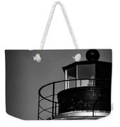 Piney Point Lighthouse And Moon In Black And White Weekender Tote Bag