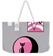 Pink 3 On Gray Weekender Tote Bag