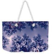 Pink And Blue Morning Frost Fractal Weekender Tote Bag