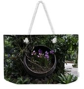 Pink And Purple Flowers In A Slanting Container Weekender Tote Bag