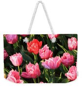 Pink And Red Ruffly Tulips Square Weekender Tote Bag
