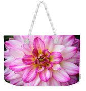 Pink And White Dahlia Square Weekender Tote Bag