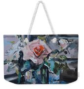 Pink And White Roses In Silver Mug Weekender Tote Bag