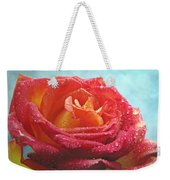 Pink And Yellow Rose With Dew II  Weekender Tote Bag