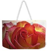 Pink And Yellow Rose With Water Drops Weekender Tote Bag