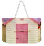 Pink Beach Hut Weekender Tote Bag