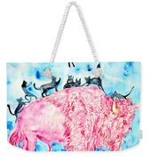 Pink Bison And Black Cats Weekender Tote Bag