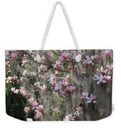 Pink Blossoms And Gray Moss Weekender Tote Bag