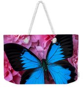 Pink Camilla And Blue Butterfly Weekender Tote Bag