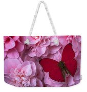 Pink Camilla's And Red Butterfly Weekender Tote Bag