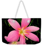 Pink Day Lily Weekender Tote Bag