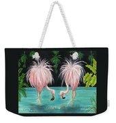 Pink Flamingo Booty Tropical Birds Art Cathy Peek Weekender Tote Bag
