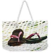 Pink Flip Flops On Backyard Rope Hammock Vintage Scratched Style Weekender Tote Bag