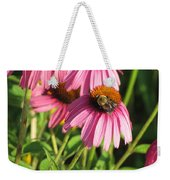 Pink Flower And Bee Weekender Tote Bag