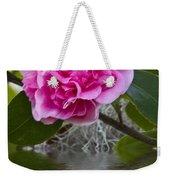 Pink Flower Reflection Weekender Tote Bag
