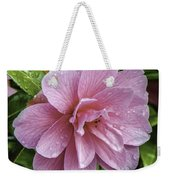 Pink Flower With Rain Drops Weekender Tote Bag