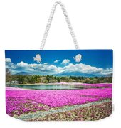 Pink Flowers Blue Sky Weekender Tote Bag