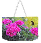 Pink Geraniums And Butterfly Weekender Tote Bag