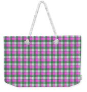 Pink Green And White Plaid Pattern Cloth Background Weekender Tote Bag
