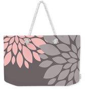 Pink Grey Peony Flowers Weekender Tote Bag